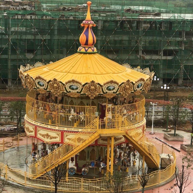 Merry Go Around Luxury Double-Deck Golden Carousel
