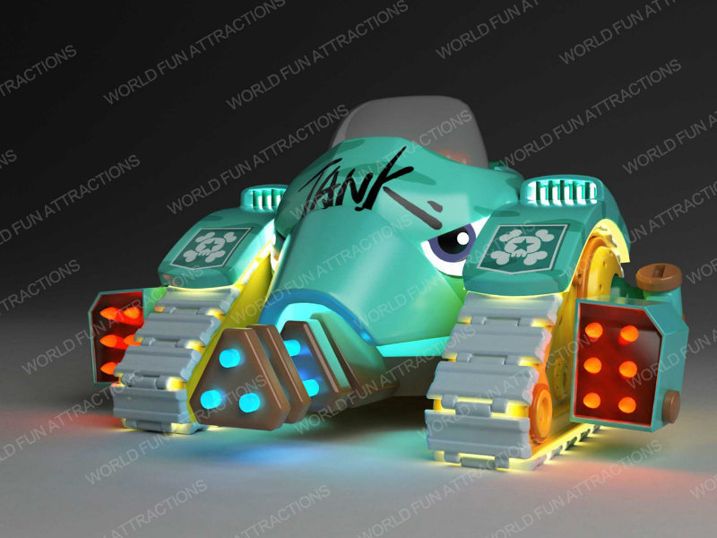 Tank kiddie rides from Pirate Park IP theme -- exhibited at 2018 GTI ASIA CHINA EXPO (Guangzhou,China)